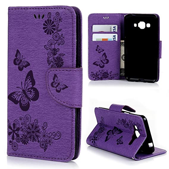 For Samsung Galaxy J3 2016 Wallet Case, Express Prime Case, Amp Prime Case,  Natural Purple Luxury 3D Handmade Cover Embossed Butterfly PU Leather TPU