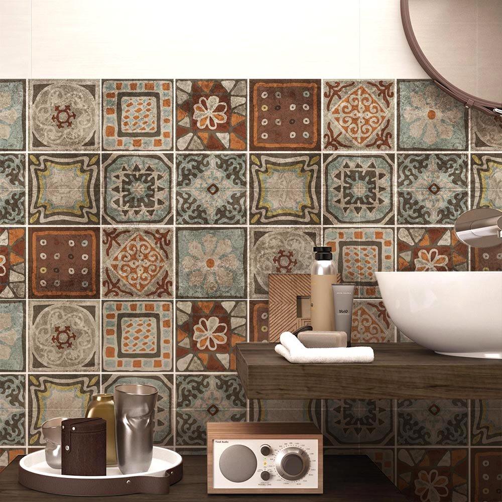 (54 Pieces) carrelage adhésif 10x10 cm - PS00167 - Cancun - Adhésive décorative à Carreaux pour Salle de Bains et Cuisine Stickers carrelage - Collage des tuiles adhésives wall art
