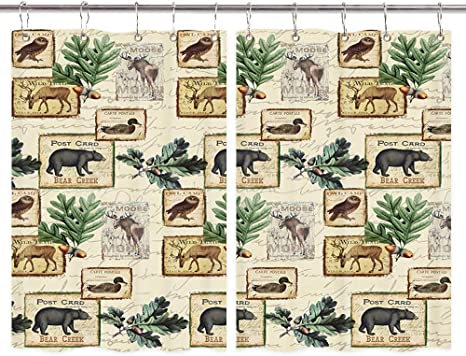 Amazon Com Rustic Lodge Kitchen Curtains Country Cabin Bear Elk Deer Moose Owl Duck Wilderness Forest Animals Pattern Window Curtain Waterproof Fabric Kitchen Drapes 10pcs Hooks 55x39in Home Kitchen