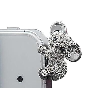 Lusee® teléfono celular joyería enchufe del polvo clavijas de conexión toma de auriculares para los