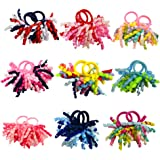 PIDOUDOU Pack of 18 Mix Color Boutique Girls' Curly Korker Bow Hair Ties