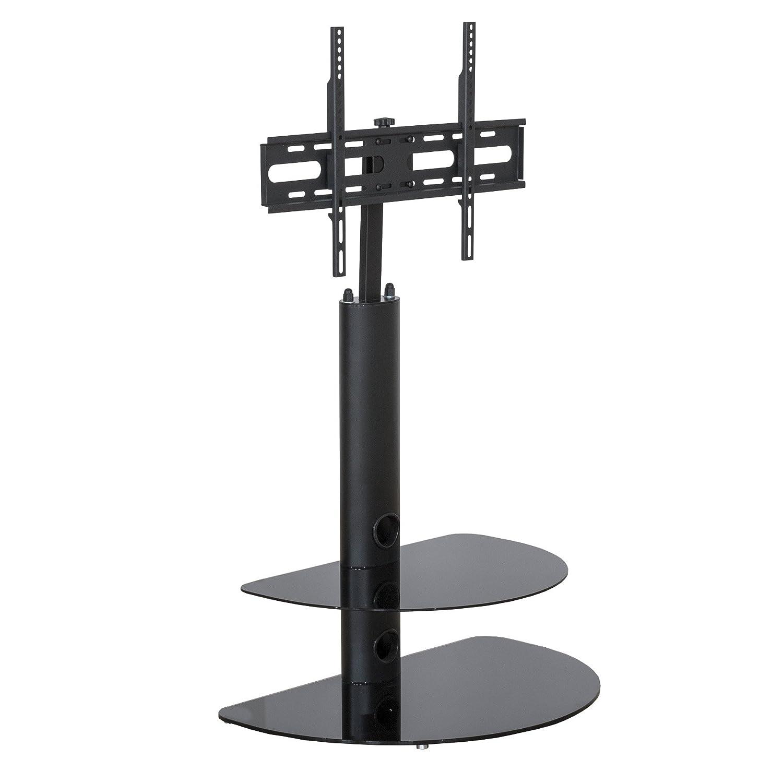 ブラックスチールTVスタンド片持ち – ガラスTVスタンドユニットマウントブラケット – 32インチ最大55インチLCD LEDスクリーンSwivelアクションブラケット   B0731DZ74W