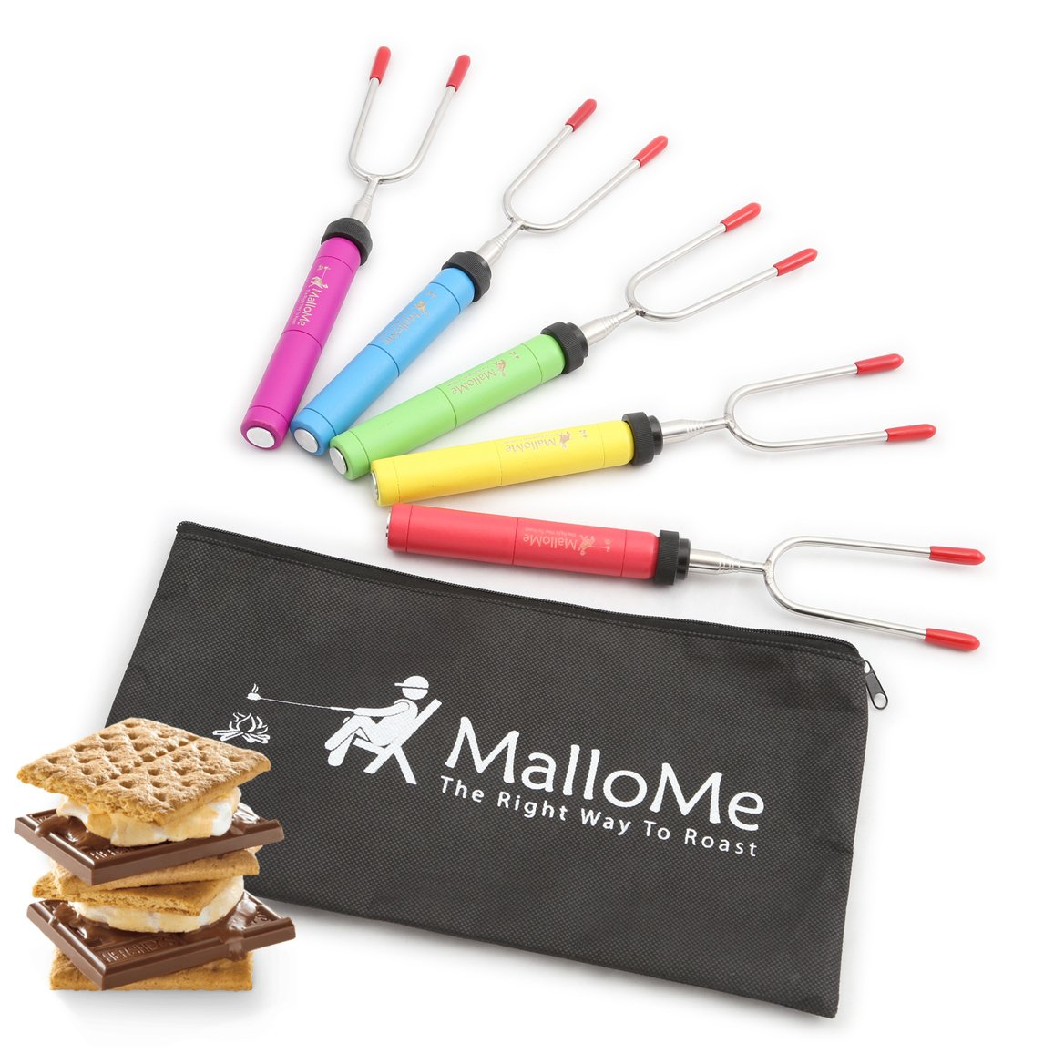 MalloMe Premium Marshmallow Roasting Sticks Set of 5 Smores Skewers & Hot Dog Fork 34 Inch Rotating & Telescoping Patio Fire Pit Camping Cookware Campfire Cooking Kids Accessories - Bonus Bag & Ebook 5FORKSET