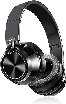 YSMKUOK - Auriculares inalámbricos estéreo de alta fidelidad con micrófono de cancelación de ruido, compatible con llamadas manos libres inalámbricos y con cable plegables para PC/teléfonos celulares/TV negro: Amazon.es: Electrónica