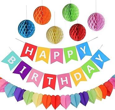 AMEITECH Fiesta de Cumpleaños Favores, Feliz Cumpleaños Decoración Banner con 6 Pack Honeycomb Balls y una Rainbow Paper Garland, Party Supplies: Amazon.es: Juguetes y juegos