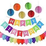 """Kit Decorazione Festa di Compleanno, Striscione """"Happy Birthday"""" con 6 Sfere a Nido d'ape e una Decorazione di Carta Arcobaleno, Party kit"""