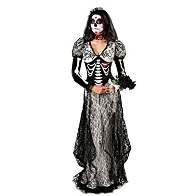 8e82338d3ad NonEcho Women's Skeleton Ghost Dress Costume for Halloween Party