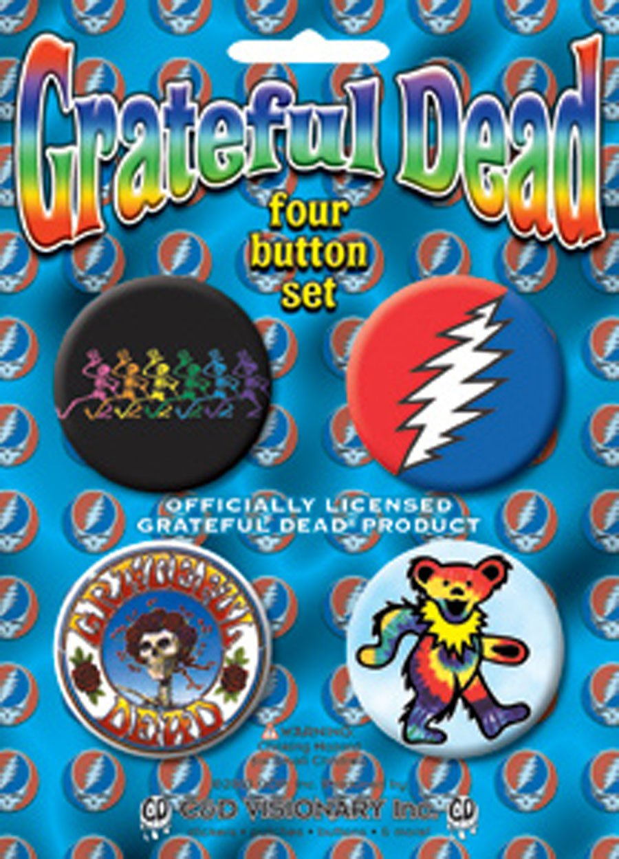 Licenses Products Grateful Dead-Skeleton Assorted Artworks 1.5 Button Set, 4-Piece B-1562