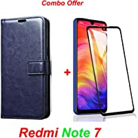 Goelectro Redmi Note 7 / Note7 (Combo Offer) Leather Dairy Flip Case Stand with Magnetic Closure & Card Holder Cover + 6D Curved Tempered Glass Screen Protector (Blue Flip)