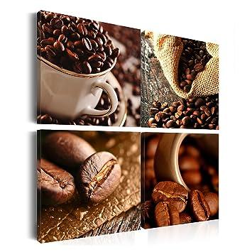 Leinwandbilder Kaffee: 40X40 Cm 4 Teilig - | Wandbilder | Vlies