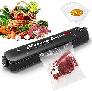 Vacuum Sealer Machine for Food Preservation with 15 Pcs Saver Bags, Automatic Vacuum Sealing Portable 14.5 x 3 x 1.9 In, Vacuum Packaging Machine Black