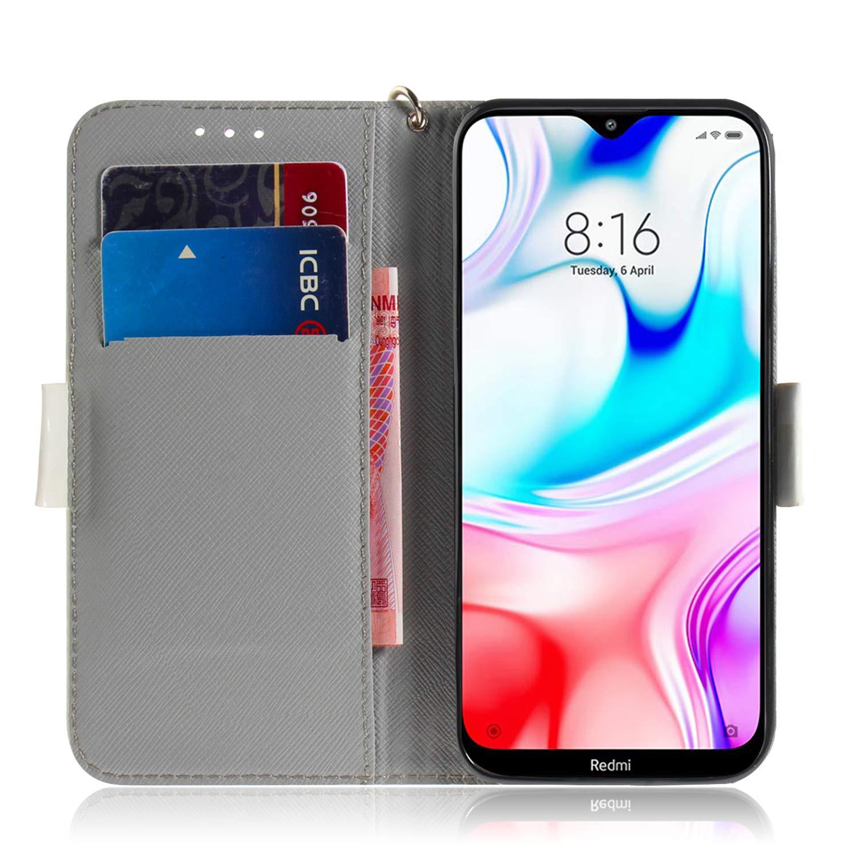 TOTXI161795 T9 Portefeuille /Étui en Cuir Synth/étique Fonction Stand Case Housse Folio /à Rabat Compatible avec Xiaomi Redmi 8 Tosim Coque Xiaomi Redmi 8