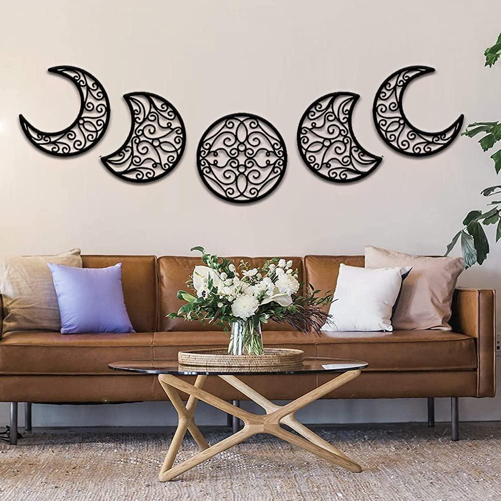 Moon Hanging Decor, 5pcs Rustic Moon Phase Decor Wall Decorative Set, Scandinavian/ Bohemian Wood Moon Signs, Wooden Modern Art Pediments for Bedroom, Home, Apartment, Living Room, Gallery Ornament