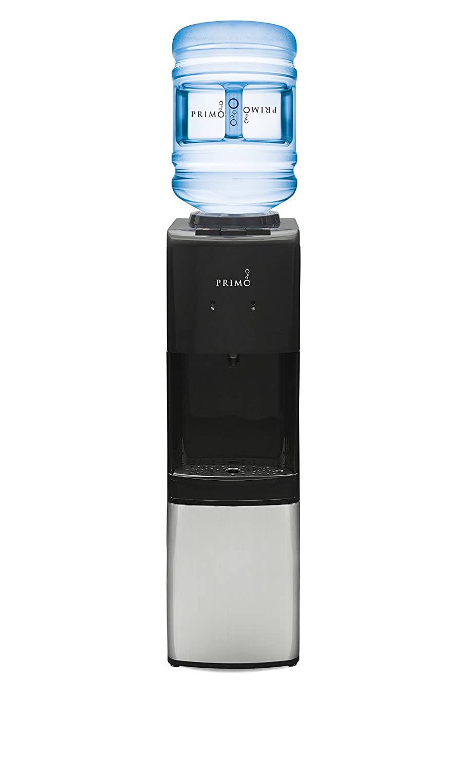Primo Top Loading Water Cooler - 3 Temperature Settings, Hot, Cold & Cool - Energy Star Rated Water Dispenser with Child-Resistant Safety Feature Supports 3 or 5 Gallon Water Jugs [Black w/Stainless]