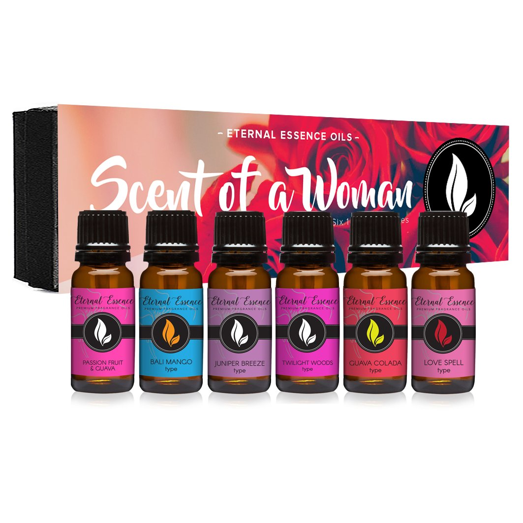 Scent Of A Woman Gift Set of 6 Premium Fragrance Oils - Guava Colada Type, Twilight Woods Type, Bali Mango Type, Passion Fruit & Guava, Juniper Breeze Type, Love Spell Type - Eternal Essence Oils