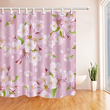 HiSoho Cherry Blossoms In Pink Shower Curtain Mildew Resistant Polyester Fabric Bathroom Bath Curtains Set