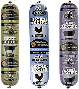 Redbarn Dog Food Rolls Variety Bundle - 3 Flavors (Lamb, Beef, and Chicken) - 3 Rolls Total (4lb Each)