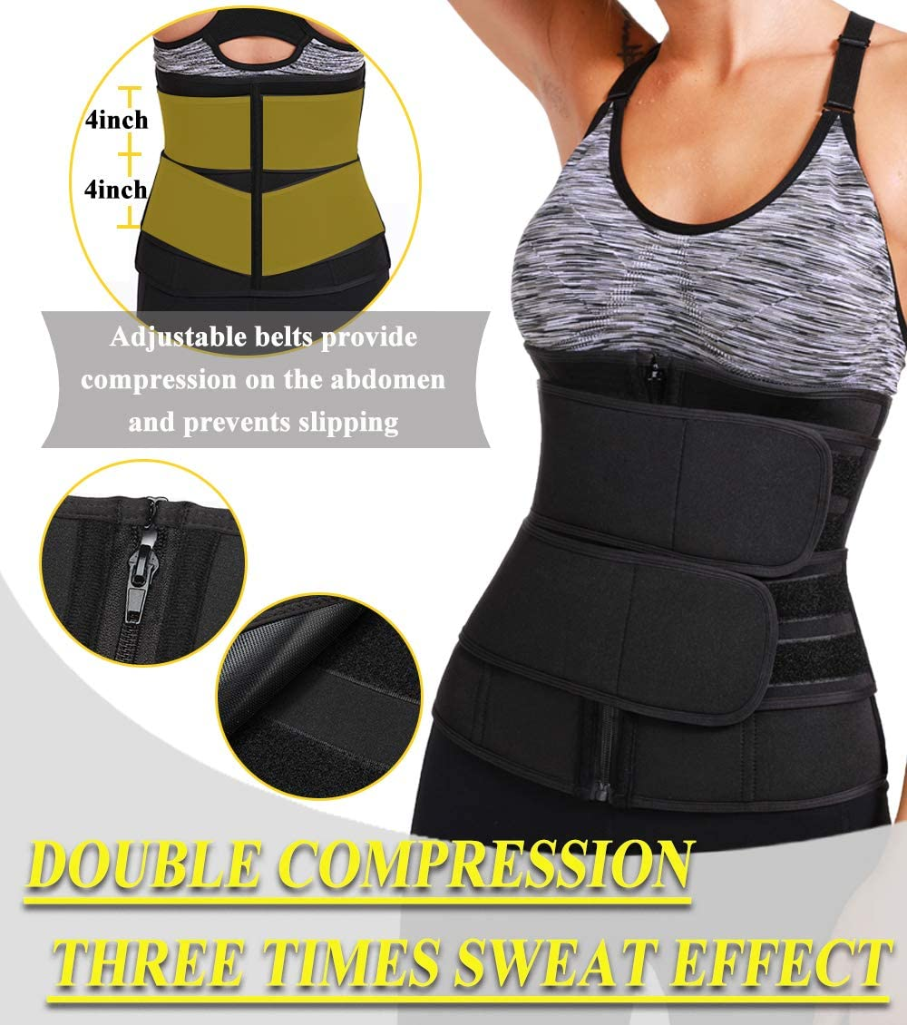 Back Support with Dual Adjustable Band MISS MOLY Waist Trimmer Sweat Belt Neoprene Waist Trainer Cincher Sauna Slimming Hot Body Shaper for Women /& Men Weight Loss Fitness Workout