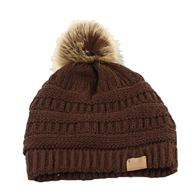 Frauen Winter Faux Pelz Ball Warm Hut Häkeln Strick Wolle Mütze