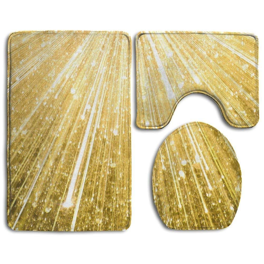 Amkong Bath Mat, 3 Piece Bathroom Rug Set Gold Glitter, Skidproof Flannel Contour Rugs Antibacterial Cover Mat for Men Women Kids, Bathroom Rugs, Bathroom Accessories