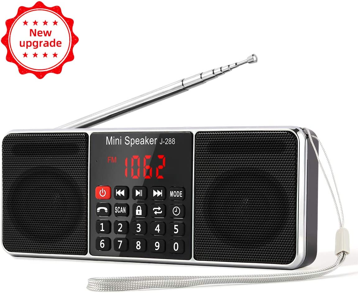 PRUNUS J-288 AM/FM Radio Portable, Hands-Free Bluetooth Radio Stereo Speaker with Sleep Timer, Power-Saving Display, Ultra-Long Antenna, AUX Input & USB Disk & TF Card MP3 Player(Black)