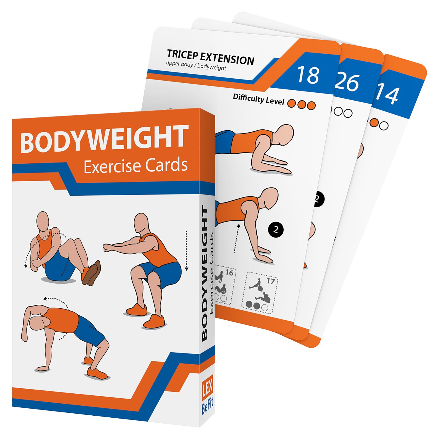 Exercise Cards - 55 Premium Bodyweight Exercises - Best Workout Guide - Complete Home Gym for Men and Women Functional Training Chest Abs Legs - Video Instructions Included
