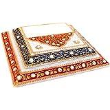 Handicrafts Paradise Enamel Work Marble Step Chowki (15.3 cm x 15.3 cm x 2.55 cm, Multicolor)