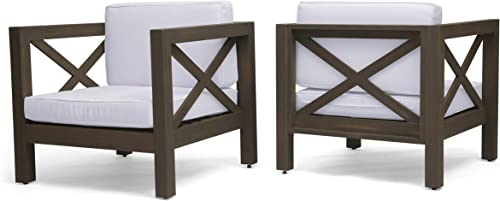 Indira Outdoor Acacia Wood Club Chairs with Cushions Set of 2 , Gray Finish and White