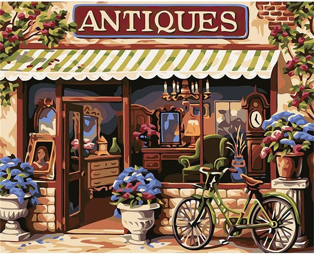 Pintar por Numeros Adultos Niños DIY Pintura por Números con Pinceles y Pinturas para Principiantes Lienzo Painting Decoraciones del Hogar Regalos Bicicletas frente a la tiendaFramed,60x75cm/24x30in