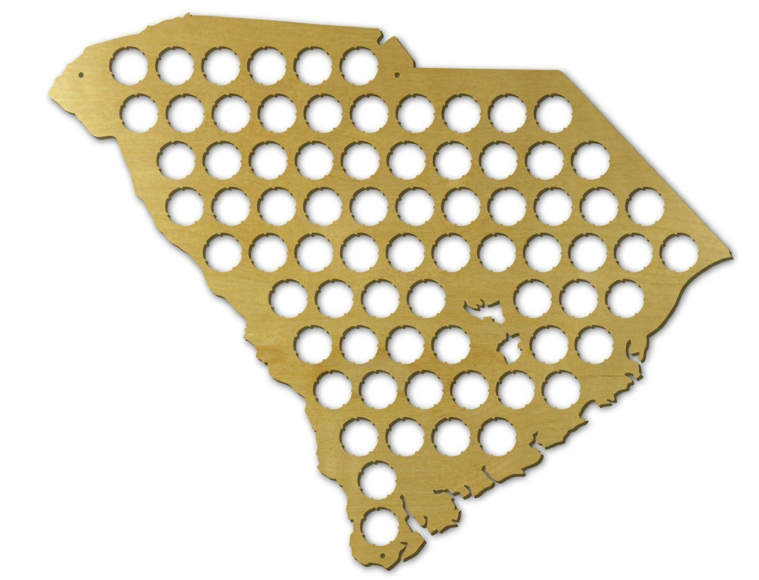 Amazon.com: Beer Cap Trap South Carolina Beer Cap Map Wall Art, Tan ...