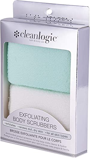 Cleanlogic Exfoliating Small Body Scrubber, Green and White, 2 Count