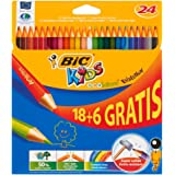 Bic Kids Evolution ECOlutions matite colorate in resina senza legno confezione da 24 matite colori assortiti