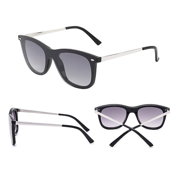 Sonnenbrille Gespiegelt Ein Stück Linsen Rahmenlos Niet Männer Frau UV400(Schwarz/Grau) V2TZ9sKg5A