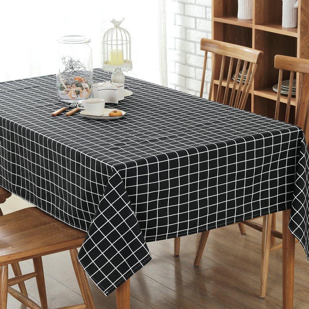 Plaid lattice in tela di cotone tovaglia tovaglia di schermo 70 cm Black