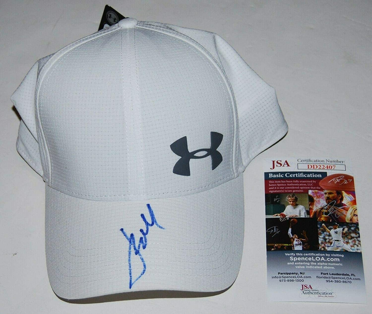 aee64ea8 JORDAN SPIETH signed (UNDER ARMOUR) White Golf hat cap Authenticated #1 -  JSA Certified - Autographed Golf Equipment at Amazon's Sports Collectibles  Store