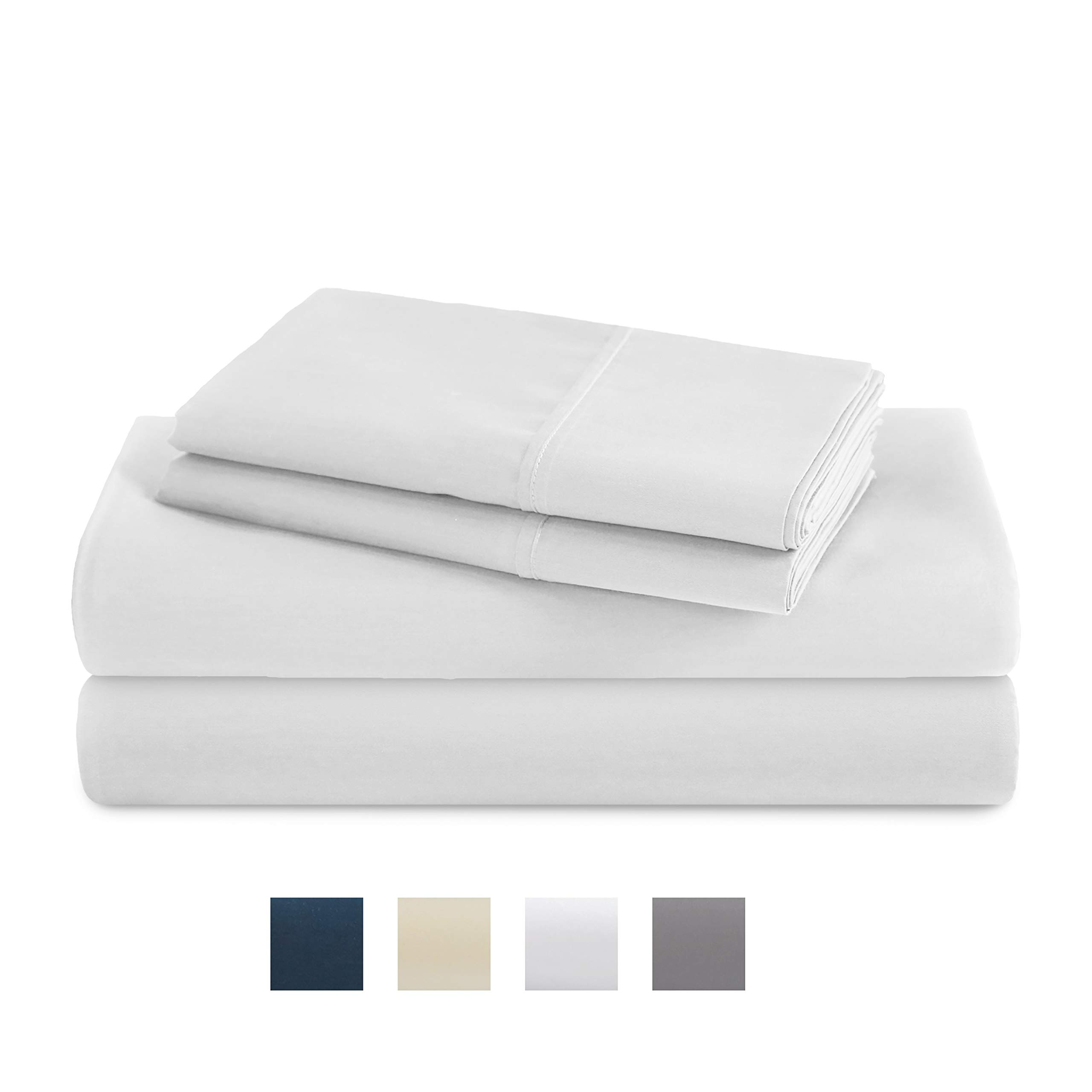TRIDENT Queen Sheets, 400 Thread Count Sheet Set, 100% Cotton Sateen Weave, Moisture Wicking, Wrinkle Resistant, 4 Piece Sheet Set, Techno-fit, Soft, Air Rich Technology (Bright White, Queen)