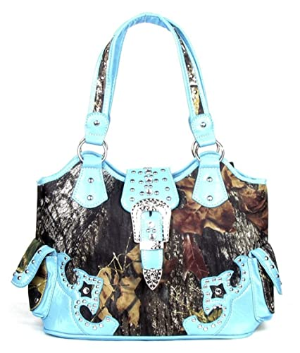 a303d6005e3b Image Unavailable. Image not available for. Color  GoCowgirl Western  Concealed Carry Weapon Purse Camouflage Camo Belt Buckle Handbag Blue Large