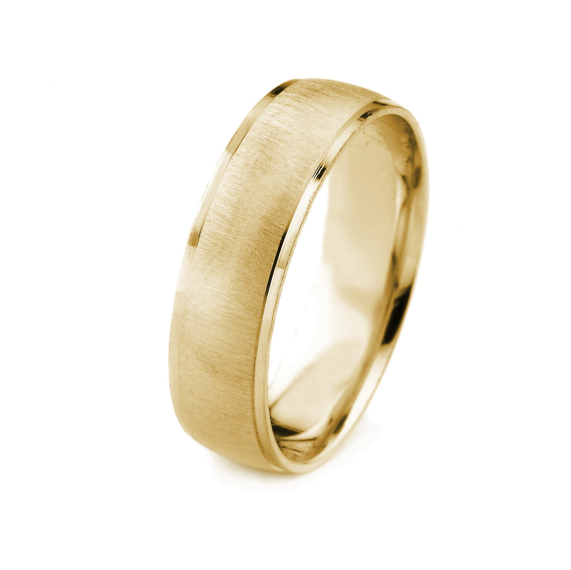 10k Gold Men's Wedding Band with Cross Satin Finish and Cut Polished Edges (6mm)