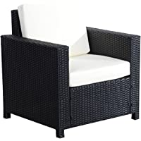 Outsunny Rattan Wicker Sofa Chair Patio Furniture Single Seat Outdoor Garden with Cushion Black