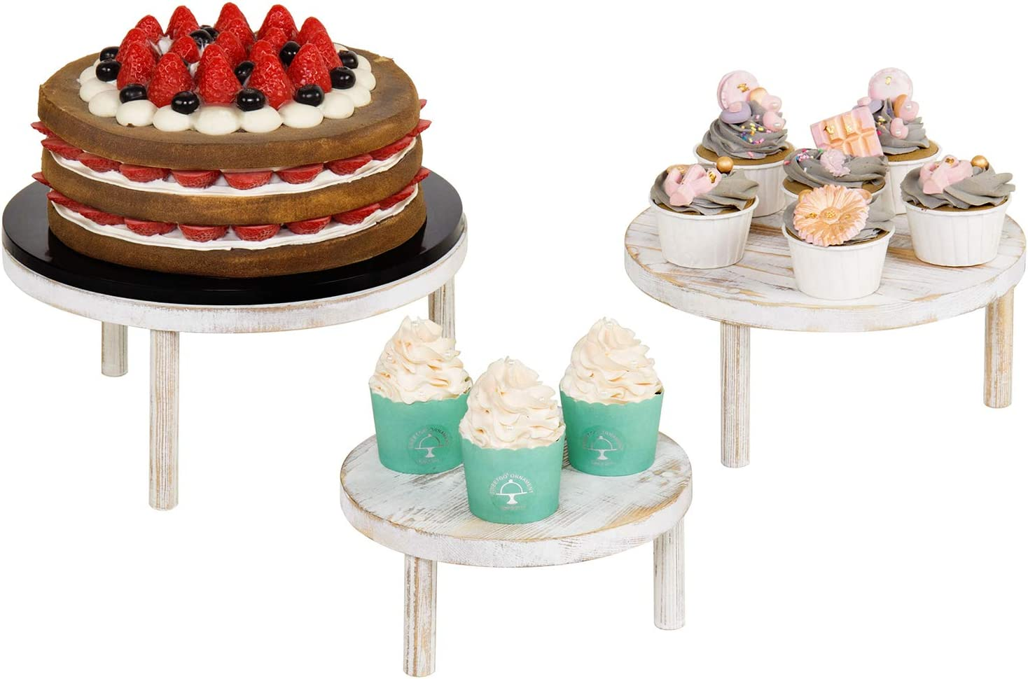 MyGift Shabby Whitewashed Wood Round Dessert and Bakery Retail Display Riser Stands, Set of 3