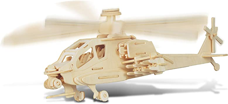Wooden construction model No glue or mess kit Apache Helicopter