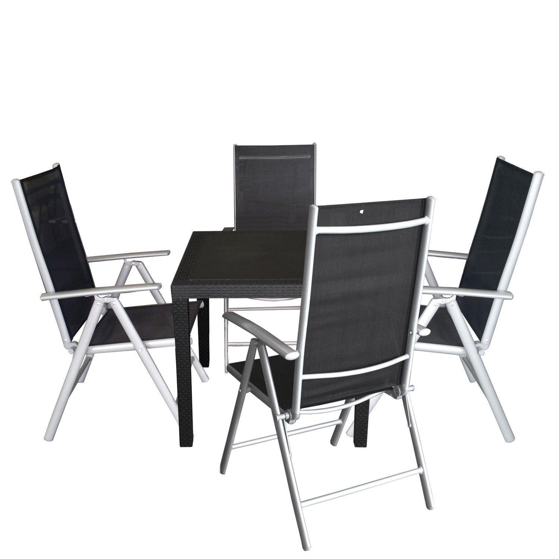 5tlg Balkonmöbel Set Sitzgruppe Vollkunststoff Gartentisch Rattan ...
