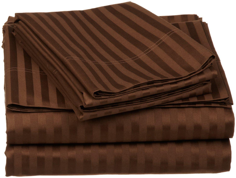 SRP Bedding 400 Thread Count Egyptian Cotton Super Soft 1-Piece Flat Sheet/Top Sheet California Queen Striped Chocolate