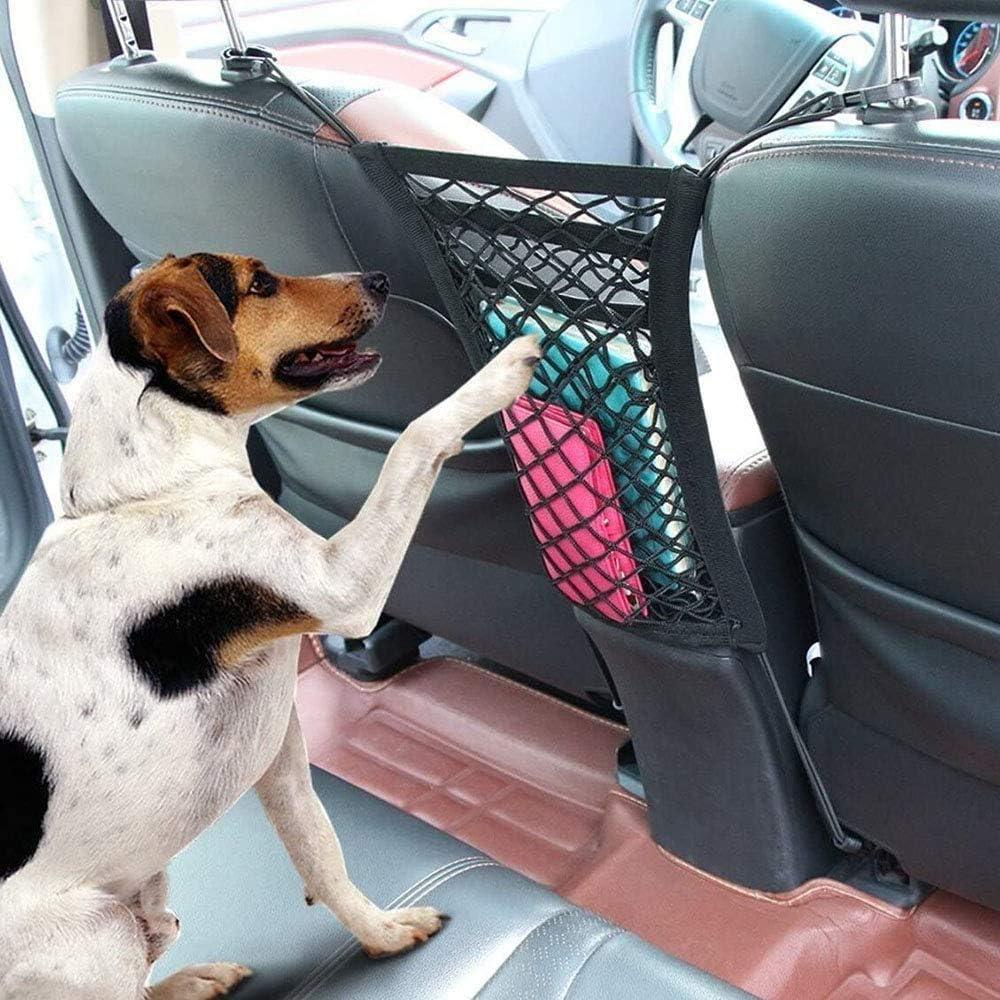 3-Layer Car Storage Organizer Seat Back Net Bag Barrier of Backseat Kids Children Pet Dog Cargo Tissue Handbag Purse Holder Driver Storage Netting Pouc Sonny Brook Hams Car Mesh Organizer
