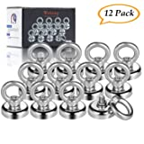 """Wukong Magnetic Hooks Super Strong 1"""" Diameter 40LB Heavy Duty Neodymium Eyebolt Magnet Hook for Organizing Indoor/Outdoor,Kitchen,Workshop,Home, Will Not Scratch"""