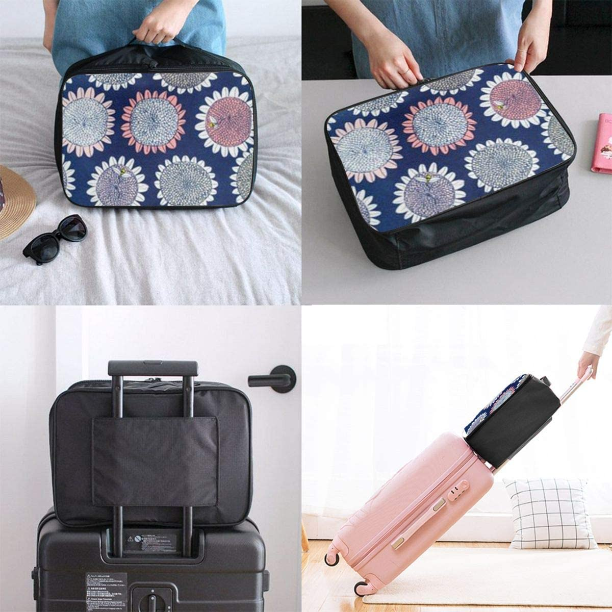 Painting Sunflower Travel Carry-on Luggage Weekender Bag Overnight Tote Flight Duffel In Trolley Handle
