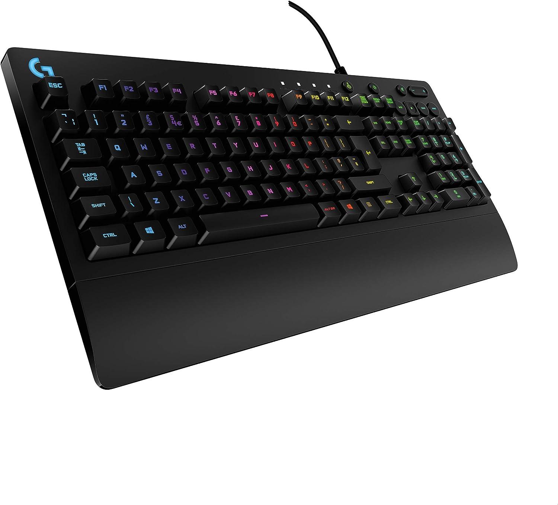 Logitech G213 Prodigy Teclado Gaming, Retroiluminación RGB LIGHTSYNC, Resistente a Salpicaduras, Personalizable, Controles Multimedia, Disposición QWERTY Inglés UK, Negro