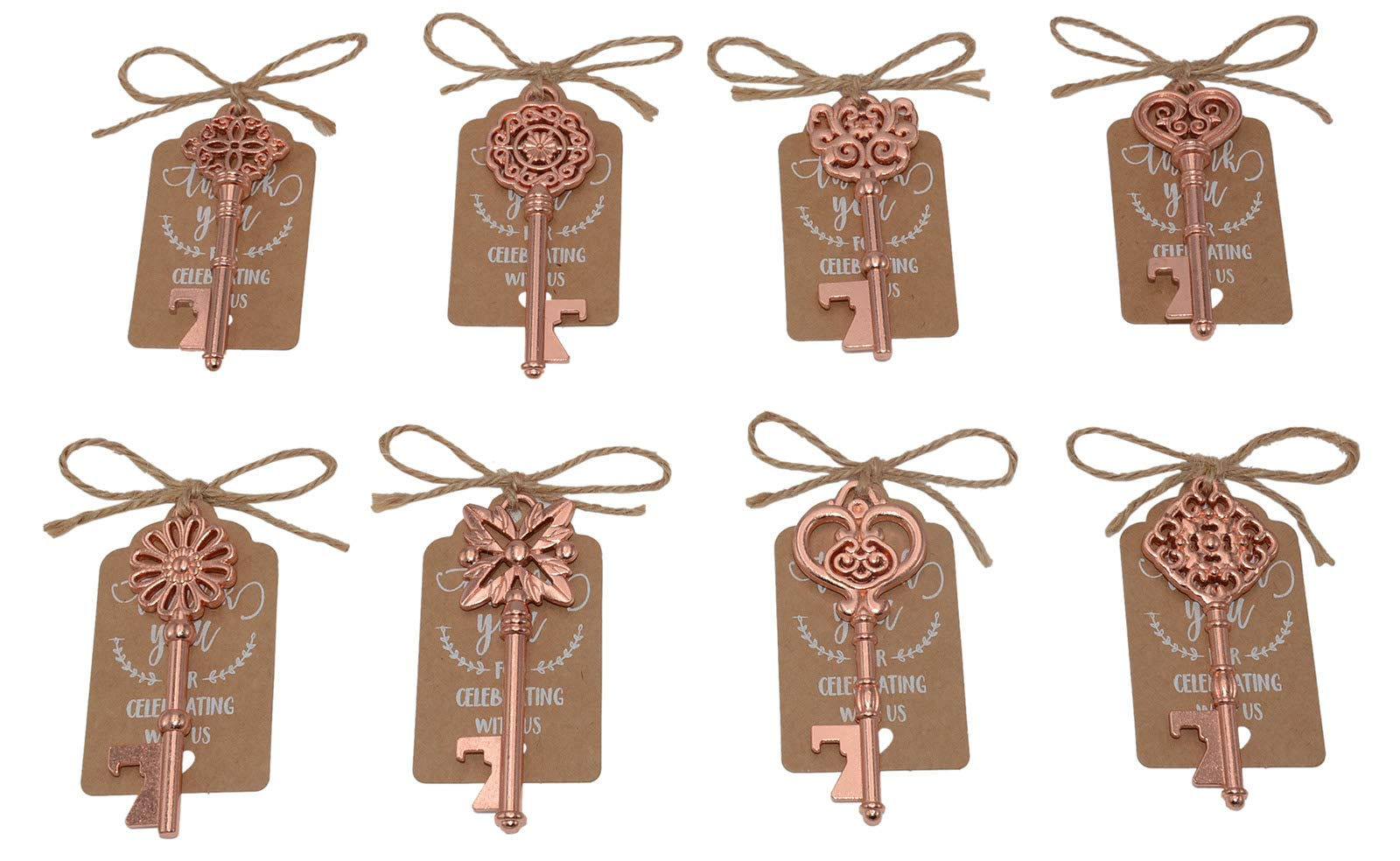 Wedding Favors for Guests 40 Pack Mixed Large Skeleton Key Bottle Openers (Rose Gold,8 styles) with Tagand Twine Vintage Bridal Shower Favors Bottle Opener (Rose Gold 40pcs)