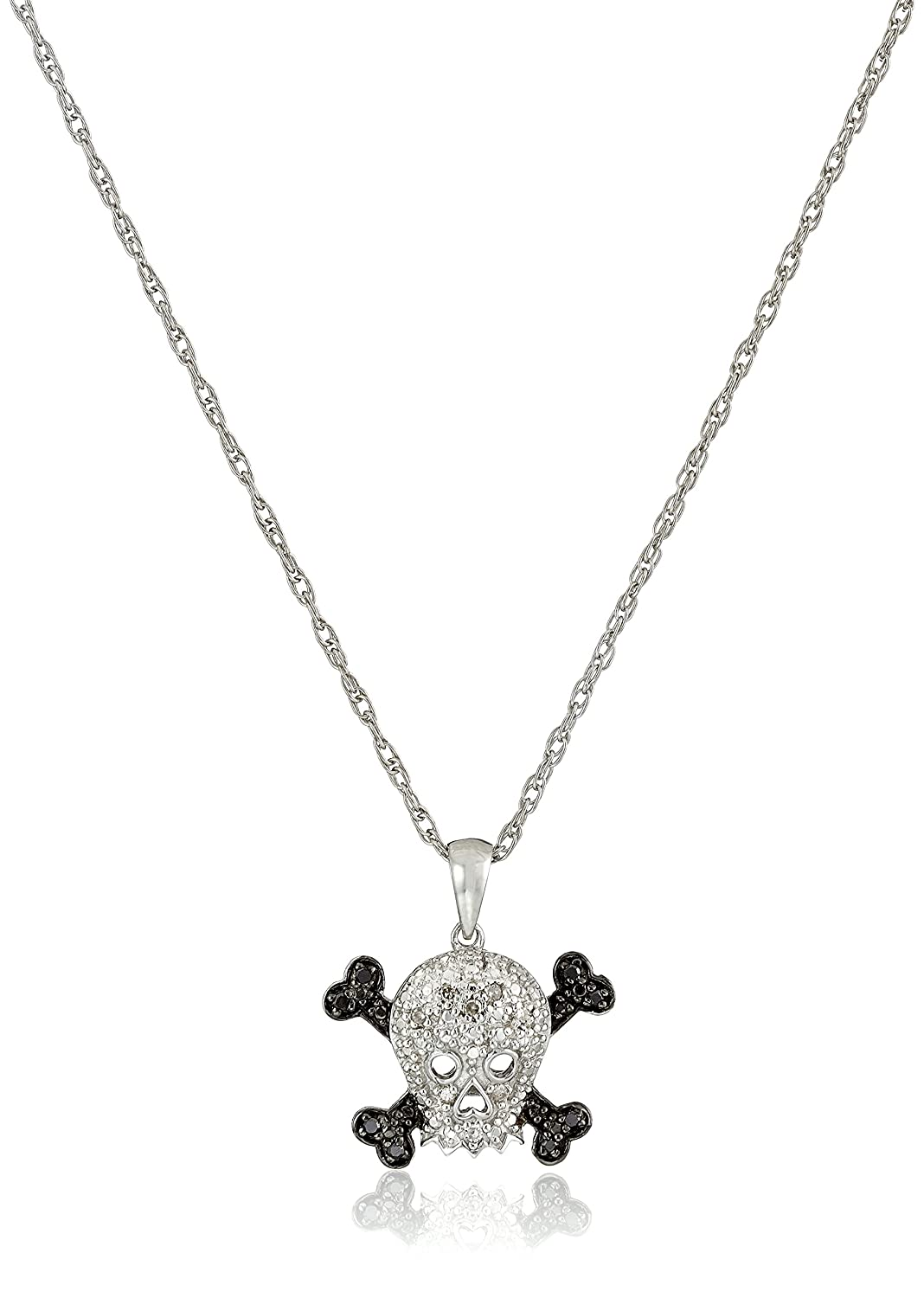 a silver skull all inch diamond sterling chain with pendant products dp