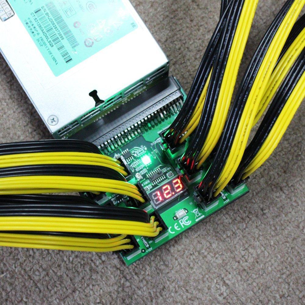 Tekit Ethereum Mining ETH ZEC LTC 1200W/750W Server PSU Power Supply Unit to GPU Breakout Board Adapter + 12pcs 6-Pin PCIe to (6+2Pin) PCIe Graphics Card Power Cables (GPU Breakout Board+12PCS cable) by tekit (Image #6)
